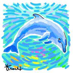 Island Dolphin Artwork: Beach Decor, Coastal Decor, Nautical Decor, Tropical Decor, Luxury Beach Cottage Decor
