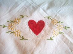 VINTAGE heart CARD table tablecloth by jennyelkins on Etsy, $10.00