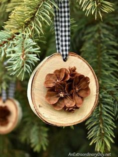 How To Make Simple Rustic Birch And Pine Cone Christmas Ornaments : Rustic Handmade Christmas Ornament for the Tree - Birch Wood Slices Display Pretty Hand Cut Pine Cone Flowers Christmas Crafts For Kids To Make, Handmade Christmas Decorations, Diy Christmas Ornaments, How To Make Ornaments, Diy Christmas Gifts, Christmas Wreaths, Christmas 2019, Pinecone Ornaments, Xmas