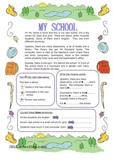 MY SCHOOL worksheet - Free ESL printable worksheets made by teachers English Teaching Materials, English Writing Skills, Learn English Grammar, English Reading, English Vocabulary, Teaching English, English Lessons For Kids, English Worksheets For Kids, School Worksheets
