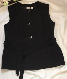 Extra: Button Front; belted; hidden pockets. Material: Body 90% Polyester 10% Rayon; Lining 100% Polyester. Color: Black. | eBay!