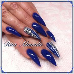 Blue And White Nails, Green Nails, Glam Nails, Stiletto Nails, Beauty Tips, Beauty Hacks, How To Do Makeup, Pretty Nail Art, Fall Nail Designs