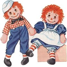 Raggedy Ann and Andy~The ones my Mom made for me looked just like this. I still have them after all those years & they were always my favorite!