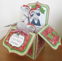 CHRISTMAS CATS Pop Up Box Card 7 5  on Craftsuprint designed by Janet Briggs - made by Davina Rundle
