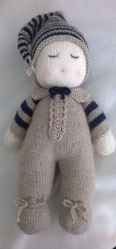 Hand Knitted Baby Dumpling Doll by DreamDollies on Etsy Knit Or Crochet, Crochet Toys, Crochet Baby, Knitted Baby, Arm Knitting, Knitting Stitches, Knitting Patterns, Knitted Animals, Homemade Toys