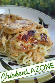 Chicken Lazone 6 servings, 500 cal each as is for chicken & sauce only. Sub FF half & half for 363 cal. 218 cal for lb spaghetti. Chicken Lazone is by far the best chicken dish you'll ever make and it only takes 15 minutes from start to finish! I Love Food, Good Food, Yummy Food, Tasty, Chicken Lazone, Great Recipes, Favorite Recipes, Easy Recipes, Dinner Recipes