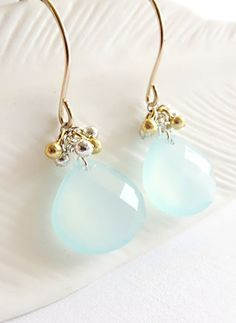Chalcedony briolette earrings, mixed metal earrings, blue stone earrings, aqua stone earrings, blue dangle earrings - Wailana Plump by KahiliCreations (60.00 USD) http://ift.tt/1anp89C