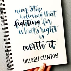 Tears were shed during this speech, and I think this statement can ring true for everyone--no matter what your beliefs are 👊🏻👊🏻👊🏻 #standup #courage #inspiration #inspirationalquotes #qotd #quoteoftheday #quotesofinstagram #hillaryclinton #hrc #election2016  #calligraphy #moderncalligraphy #creativelettering #handlettering #brushlettering #brushcalligraphy