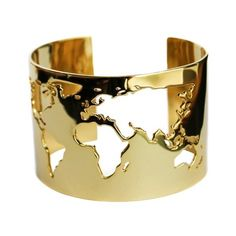 Artelier World Map Cuff found on Polyvore featuring polyvore, fashion, jewelry, bracelets, gold, cuff jewelry and cuff bangle