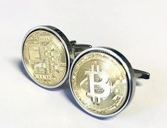 World Coin Cufflinks Gold Plated Bitcoin Cufflinks