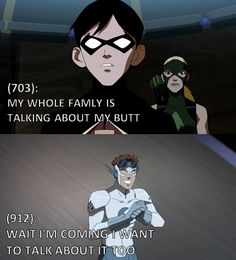 Texts from Young Justice Oh gosh, Wally's face. Yes.