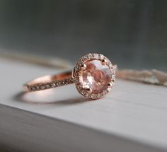 SPECIAL - 1ct round Peach Champagne sapphire diamond ring 14k rose gold