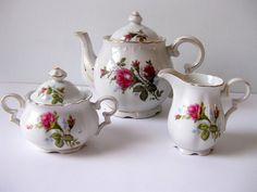 Vintage Tea Set Moss Rose by LookBackVintage on Etsy, $35.00