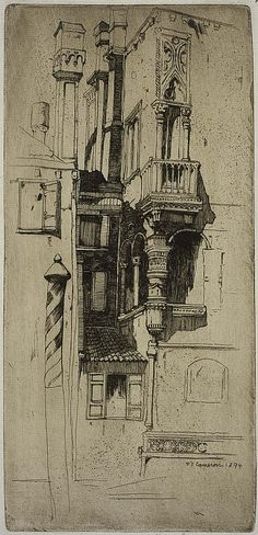 Sir David Young Cameron, Tintoretto's House, Venice, etching