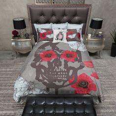 Blue Moth and Red Poppy Skull Duvet Bedding Sets