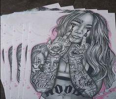 Girl Drawing Sketches, Woman Drawing, Pencil Drawings, Dope Tattoos, Leg Tattoos, Tattoo Design Drawings, Tattoo Designs, Poker Tattoo, Chicano Style Tattoo