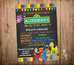 Sesame Street Birthday Invitation, Sesame Street Invitation, Sesame Street Chalkboard Invitation, Printable Digital File. by CutePartyFairy on Etsy https://www.etsy.com/listing/237787156/sesame-street-birthday-invitation-sesame