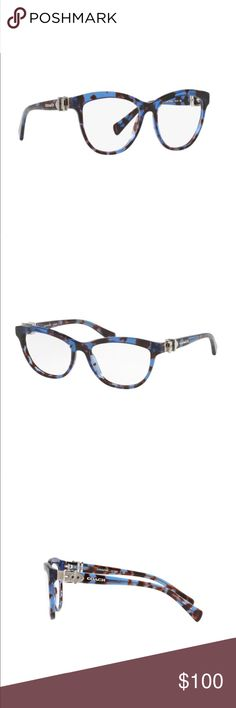 COACH Glasses Style HC608 (NWOT) These gorgeous blue tortoise shell Coach glasses have only been worn once, and have been sitting on my dresser in a case for about 6 months. I just don't like the color as much as I thought. They are a cat eye style, with cute silver buckle details on the sides. They ARE prescription, if needed I can provide the numbers. They look great on an oval face shape! Purchased from America's Best, the lenses can be changed to accommodate a new prescription. Please…