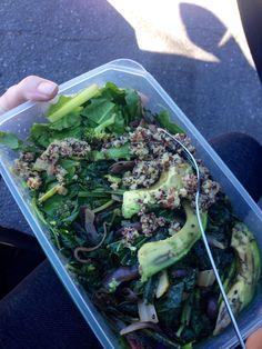Salad-to-Go || backyardgarden green vegetables: lettuces, chard, kale, broccoli | quinoa & avocado || #COLOReats @coloreats