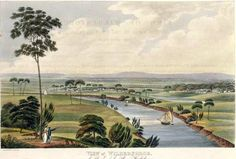 View of Wilberforce, on the Banks of the River Hawkesbury, New South Wales. In collection: Views in Australia, or, New South Wales & Van Diemen's Land delineated London : Published by J. Australian Painting, Australian Artists, The Rocks Sydney, Van Diemen's Land, Indigenous Education, Bird People, Colonial Art, Botany Bay, Historical Architecture