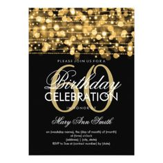 Elegant 60th Birthday Party Sparkles Gold 5x7 Paper Invitation Card