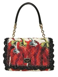 Dolce & Gabbana Quilted Cotton And Raffia Top Handle on bagservant.co.uk