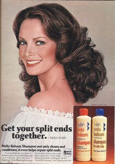 Vintage 1979 Jaclyn Smith Wella Balsam Shampoo AD Advertisment Measuring approx: 8 x 11 inches Very Good Condition, no tears or stains noted. Retro Advertising, Vintage Advertisements, Vintage Ads, School Advertising, Advertising Signs, Vintage Stuff, Vintage Signs, Patti Hansen, Vintage Makeup
