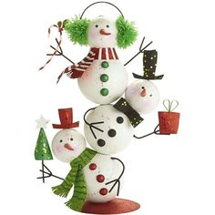 Pier 1 Imports Glitter Stacked Snowmen (62 MXN) ❤ liked on Polyvore featuring home, home decor, holiday decorations, christmas, xmas, pier 1 imports, christmas holiday decor, colorful home decor, handmade home decor and christmas home decor