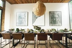 Rustic modern dining room set for a sophisticated Halloween party