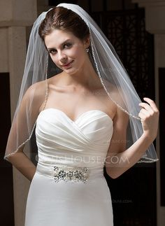 One-tier Elbow Bridal Veils With Pencil Edge (006034103) $18.99 JJs HOuse