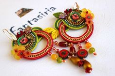 Soutache Summer collection earrings, Red and orange, Flowers & beads . OOAK. di Fantasiria su Etsy