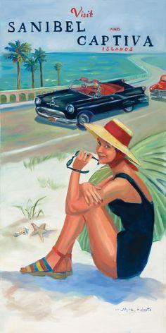 ☼ Sanibel Island, Florida ☼ — Myra Roberts whimsical artwork often features the islands of #Sanibel & #Captiva