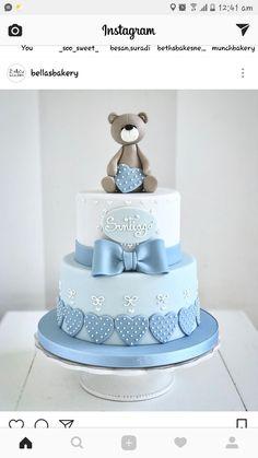 Torta Baby Shower, Baby Shower Cakes For Boys, Baby Boy Cakes, Baby Boy Shower, Christening Cake Boy, Baby Boy Birthday Cake, Teddy Bear Cakes, Toy Story Cakes, Teddy Bear Baby Shower