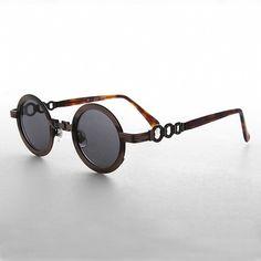 1b19ca91fc721 60s Mod Retro Round Circle Sunglass with Chain Bridge NOS-LINK Circle  Sunglasses