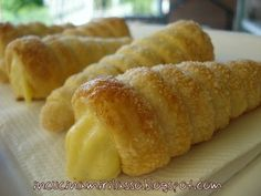 Cannoli pastry with custard