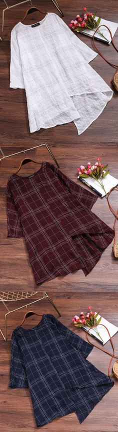 49% OFF! US$25.99 Women Plaid 3/4 Sleeve Irregular Hem Vintage T-shirts. SHOP NOW!