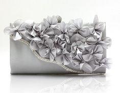 Silver Color Bridal Pearl Clutch-Luxurious Shoulder Bag Floral Bag Clutch- Evening Purse For Women Wedding Clutch, Bridal Clutch, Chiffon Flowers, Satin Flowers, Floral Chiffon, Bridesmaid Clutches, Clutches For Women, Floral Bags, Fashion Handbags