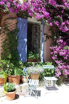 Love the  Bougainvillea climbing over the walls and blue shutters.   Old Grimaud, Provence, France-IRONWORK DOOR