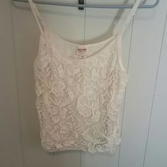 Lace tank Cream colored lace front tank top. Never worn in excellent condition Mossimo Supply Co Tops Tank Tops