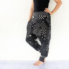 black  flowers harem pants hand weave by meatballtheory on Etsy