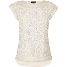 Warehouse Sequin Front Tee ($21) ❤ liked on Polyvore featuring tops, t-shirts, shirts, blouses, tees, jersey tee, white t shirt, sparkle shirt, sequin top and sequin t shirt