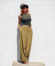Vintage Wide Leg / Palazzo Pants / Mustard Colour / by tomacrafts, €25.00