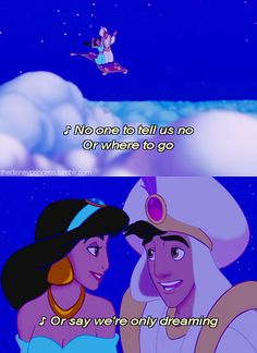 Exploring what the world has to offer with the one you love is the greatest feeling. Jasmine had finally been able to do that with her Prince Ali/Aladdin. He did what no other guy would do for her. Disney And More, Disney Love, Disney Magic, Disney Stuff, Pixar Quotes, Disney Quotes, Aladdin Quotes, Aladdin 1992, Aladdin Movie
