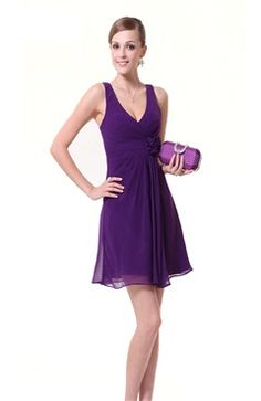 Straps Waist Flower Purple Chiffon Dress