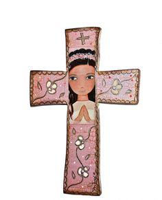 First Communion Girl  Wall Cross Mixed Media Art by by FlorLarios, $65.00