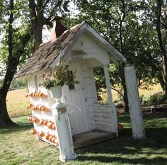 painted white old outhouse...chippy white pillars....pumpkins all in a row...