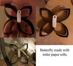 Butterflymadewithtoilet paper rolls.