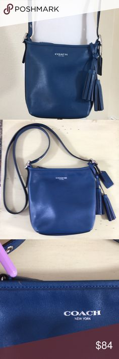 "Coach Leather  Crossbody Purse Coach Crossbody Blue Leather Purse. In great condition. No damage except for a couple very small marks as shown in pic. I've only used this purse a few times. It's to small for my needs. Length 8"", Depth 8"", Width 3"", Drop 21"". Coach Bags Crossbody Bags"