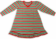 Holiday Stripes Puffed Sleeve Nightgown