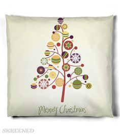 KRW Fun Stylized Christmas Tree Pillow | Deck the halls in style with this fabulous Christmas Tree pillow. #Skreened